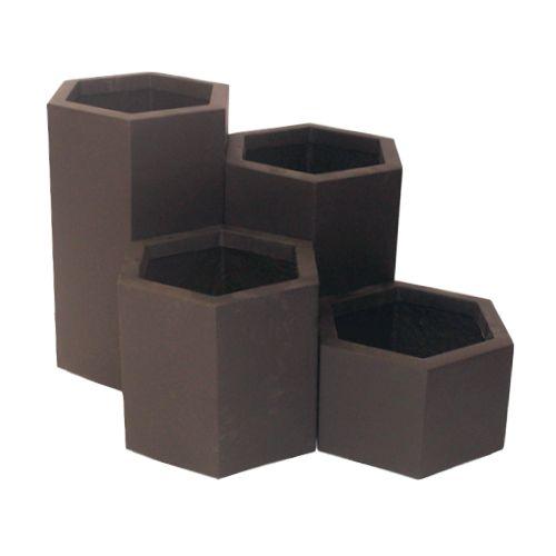 Hexas macetas de fibra de vidrio fiberland for Muebles de fibra de vidrio