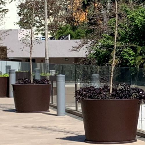 Tinas redondas macetas de fibra de vidrio fiberland - Macetas minimalistas ...