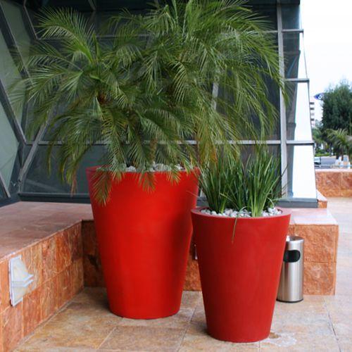 Vasos redondos macetas de fibra de vidrio fiberland - Macetas para interior ...