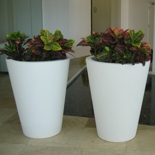 Vasos redondos macetas de fibra de vidrio fiberland - Macetas con luz baratas ...