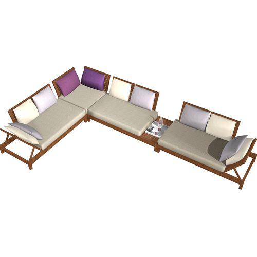Salas de exterior fiberland for Salas de madera modernas